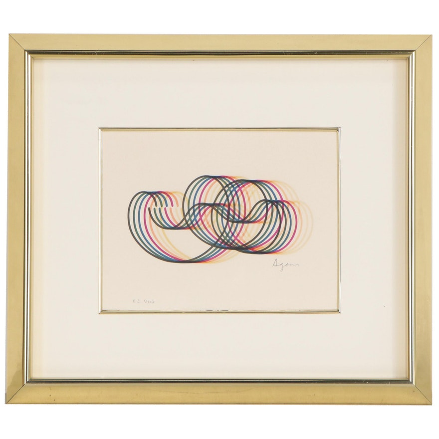 Yaacov Agam Abstract Lithograph of Linear Composition