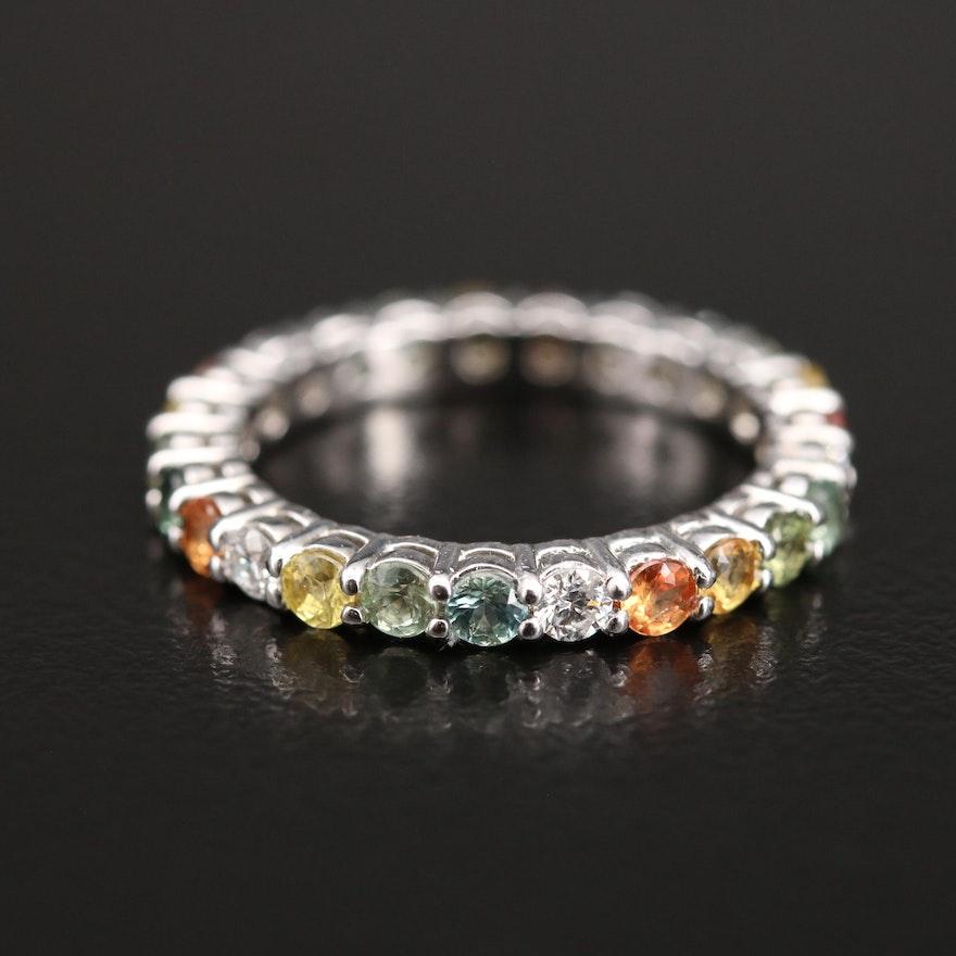 14K Diamond and Sapphire Eternity Band