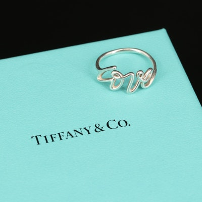 """Paloma Picasso for Tiffany & Co. """"Graffiti"""" Sterling Silver """"Love"""" Ring"""