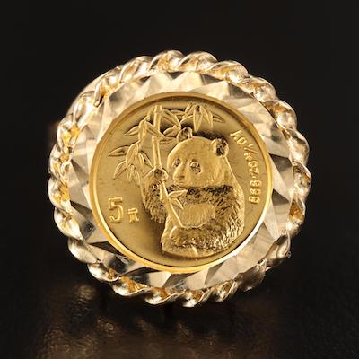 10K Ring with 1995 China 5-Yuan Gold Panda 1/20th Oz. Bullion Coin