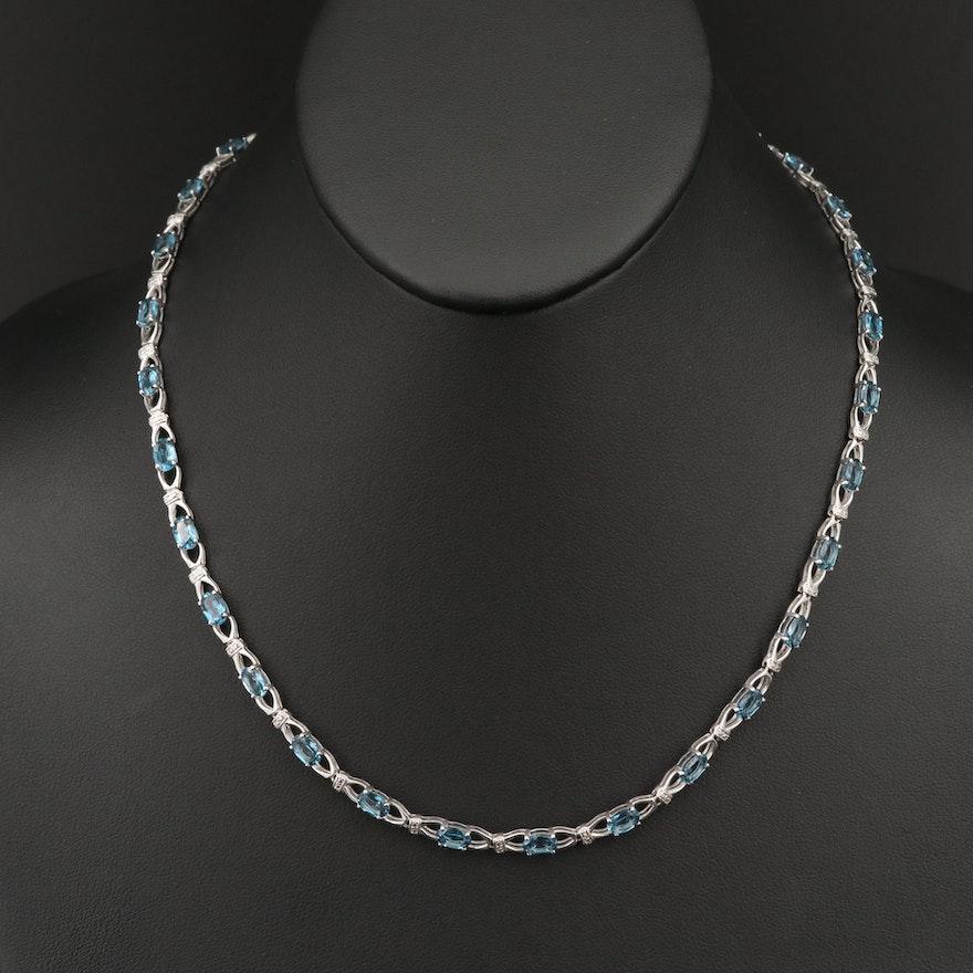 Sterling Silver Topaz Necklace