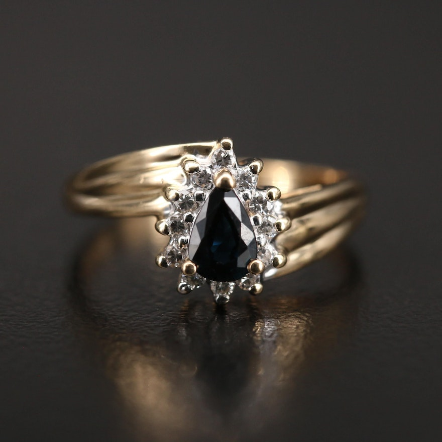 14K Sapphire and Diamond Halo Ring with Fluted Shoulders