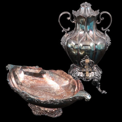 Lunt Silver Plate Oval Pedestal Centerpiece with Reed & Barton Hot Water Urn