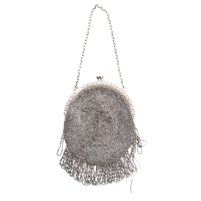Hand-Beaded Circular Frame Bag with Kiss Lock and Chain Link Strap