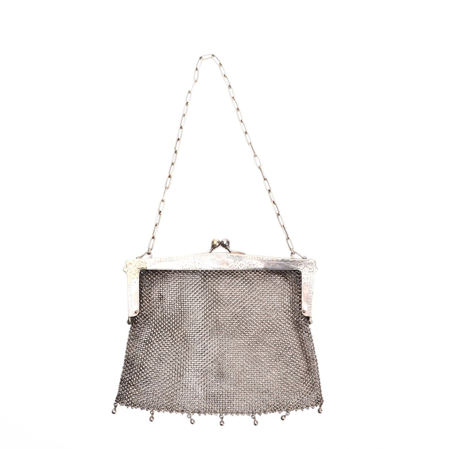 Monogrammed German Silver Mesh Frame Bag with Kiss Lock Clasp