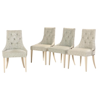 Four Baker Furniture Button-Down and Studded Dining Side Chairs