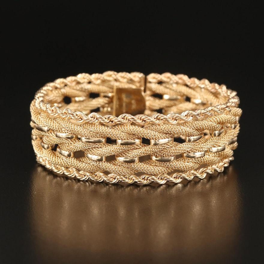 14K Multi-Row Rope and Mesh Chain Bracelet