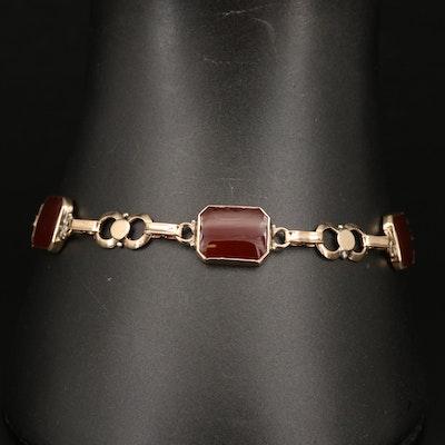 Vintage 14K Carnelian Link Bracelet