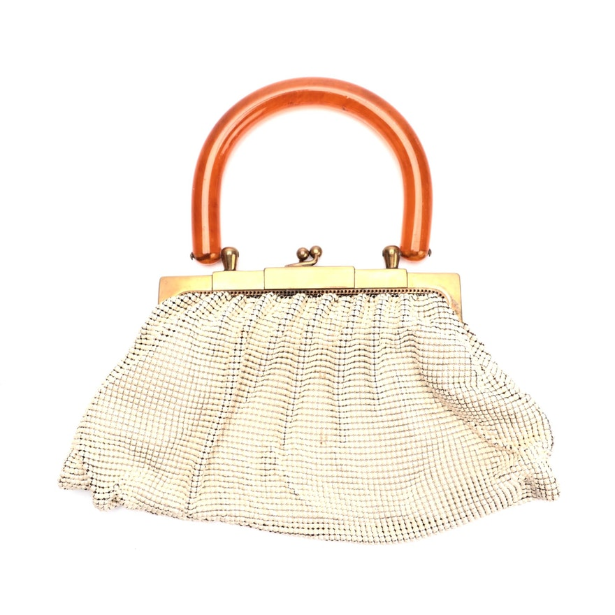 Whiting & Davis Enameled Alumesh Frame Bag with Kiss Lock and Acrylic Handle