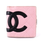 Chanel CC Cambon Wallet in Quilted Pink/Black Lambskin Leather