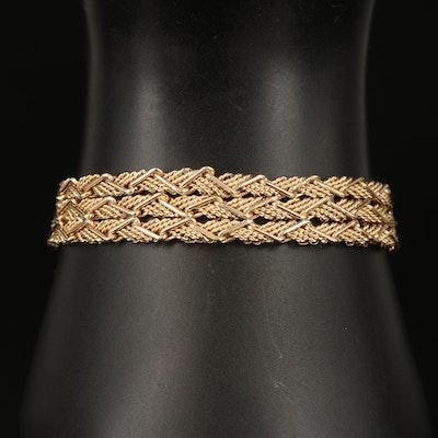 Zelman and Friedman 14K Triple Strand Fancy Link Chain Bracelet