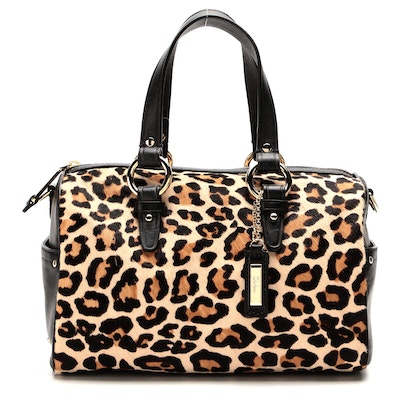 Cole Haan Jade Boston Bag in Leopard Print Calf Hair and Leather