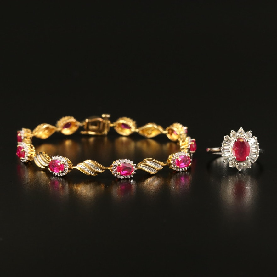 Sterling Bracelet and Ring with Ruby, Corundum and Diamond