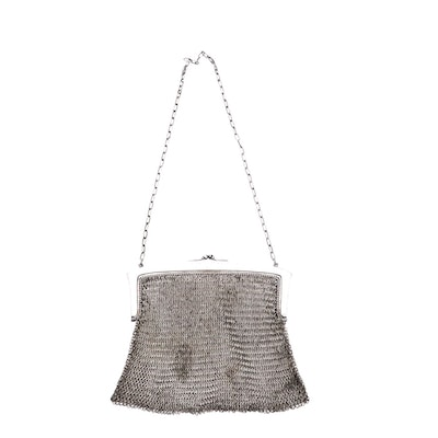 M&H German Silver Soldered Mesh Purse with Engraved Frame and Chain Link Strap