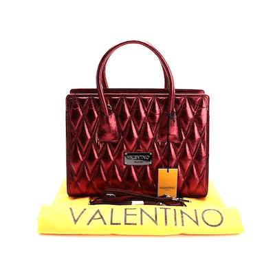 Valentino by Mario Valentino SPA Kiria Diamond Satchel in Metallic Red Leather