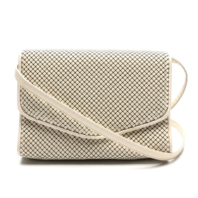 Whiting & Davis Enameled Metal Mesh and Leather Trimmed Flap Front Crossbody Bag