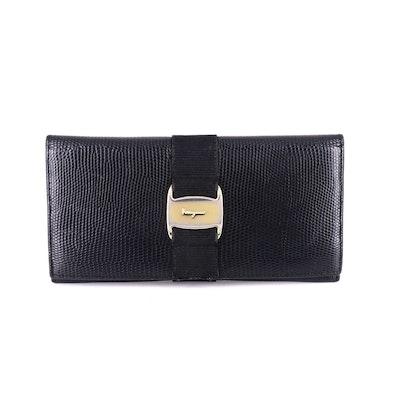 Salvatore Ferragamo Vara Bow Long Wallet in Lizard Embossed Black Leather