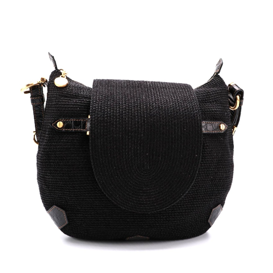 Eric Javits Saddle Bag in Black Woven Fabric with Croc-Embossed Leather Trims