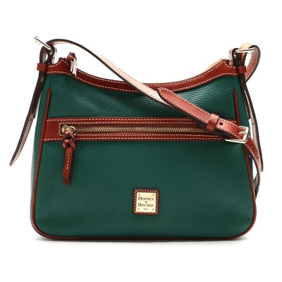 Dooney & Bourke Piper Crossbody in Green Pebble Green and Tan Leather