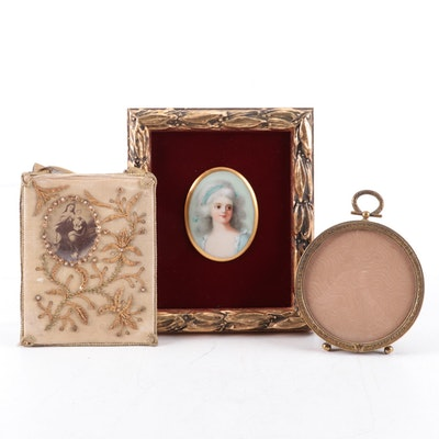 Miniature Portrait on Porcelain with Other Frame and Embroidered Scapular