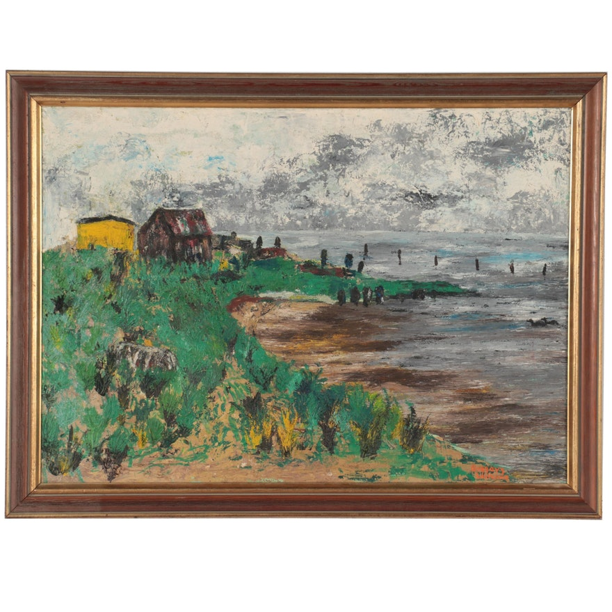 Gregory Williams Landscape Oil Painting of Seashore, Mid-Late 20th Century