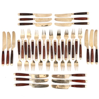 Wood and Gold Tone Hors d'oeuvre Knives and Cocktail Forks, Mid-20th Century