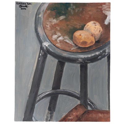 Still Life Oil Painting of Metal Stool and Eggs, 2014