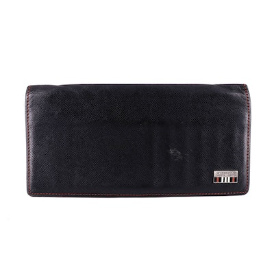 Burberry Black Label Long Wallet in Black Saffiano Leather