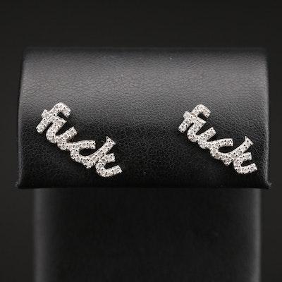14K Diamond Typography Stud Earrings