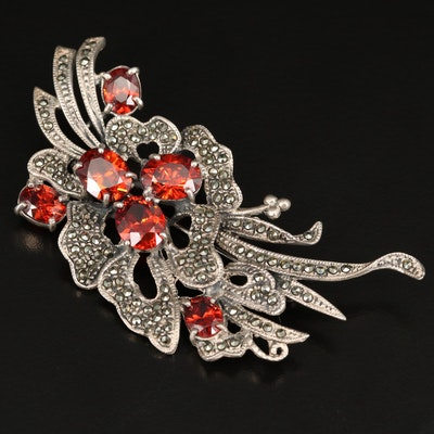 Sterling Silver Cubic Zirconia and Marcasite Brooch