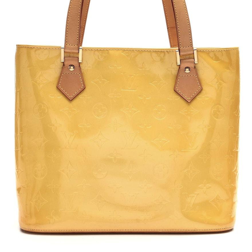 Louis Vuitton Houston Tote in Yellow Monogram Vernis and Vachetta Leather