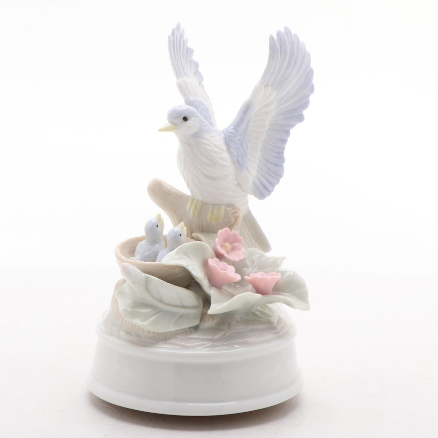 Arnart Porcelain Bird Musical Figurine, Late 20th Century