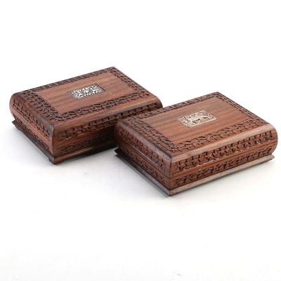 Hand-Carved Wooden Boxes with Metal Medallions, Mid to Late 20th Century