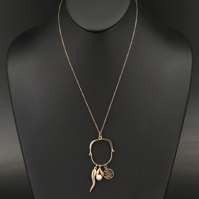 14K Charm Holder Necklace with Pearl, Chinese Longevity and Italian Horn Charms