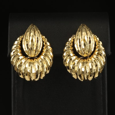 Henry Dunay 18K Door Knocker Clip Earrings with Hammered Finish