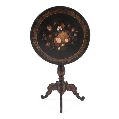 Victorian Papier-Mâché and Mother-of-Pearl Inlaid Tilt-Top Tripod Table