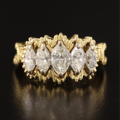 18K 1.02 CTW Diamond Tiered Ring with Textured Accents