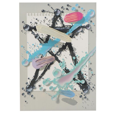 Embellished Serigraph of Paint Splatter, Late 20th Century