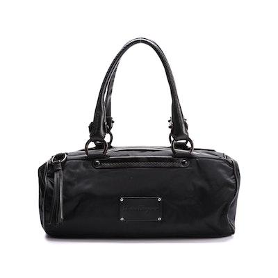 Salvatore Ferragamo Black Nylon and Leather Shoulder Bag