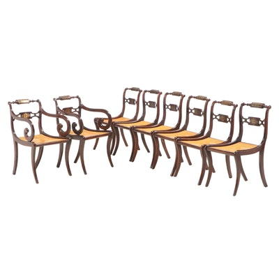 Eight Regency Rosewood Dining Chairs with Brass Inlay, Early 19th Century