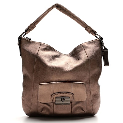 Coach Kristen Hobo Bag in Textured Pewter Leather