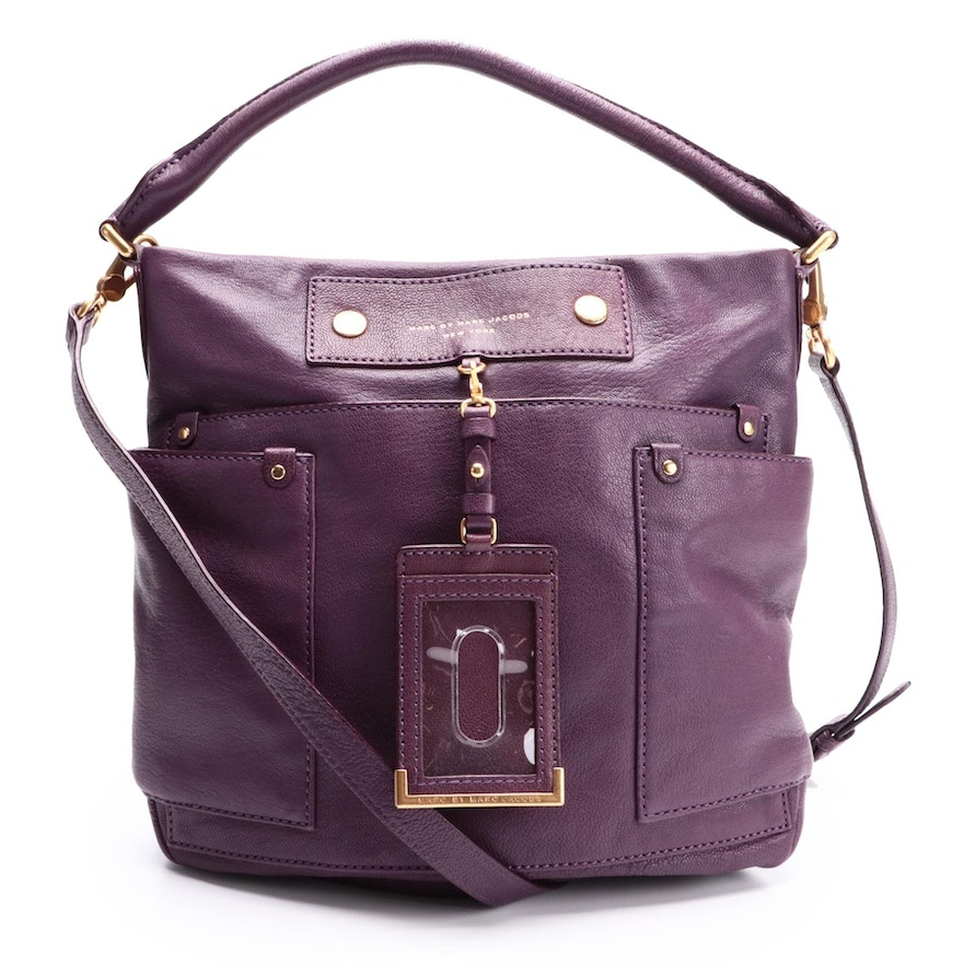 Marc by Marc Jacobs Aubergine Leather Two-Way Bag with Luggage Tag