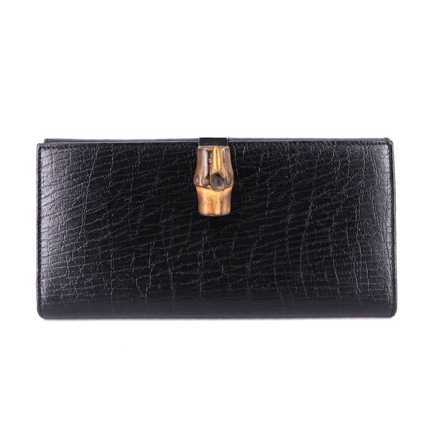 Gucci Bamboo Black Textured Leather Long Wallet
