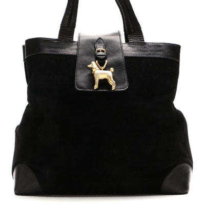 Barry Kieselstein-Cord Poodle Bag in Black Suede with Leather Trim