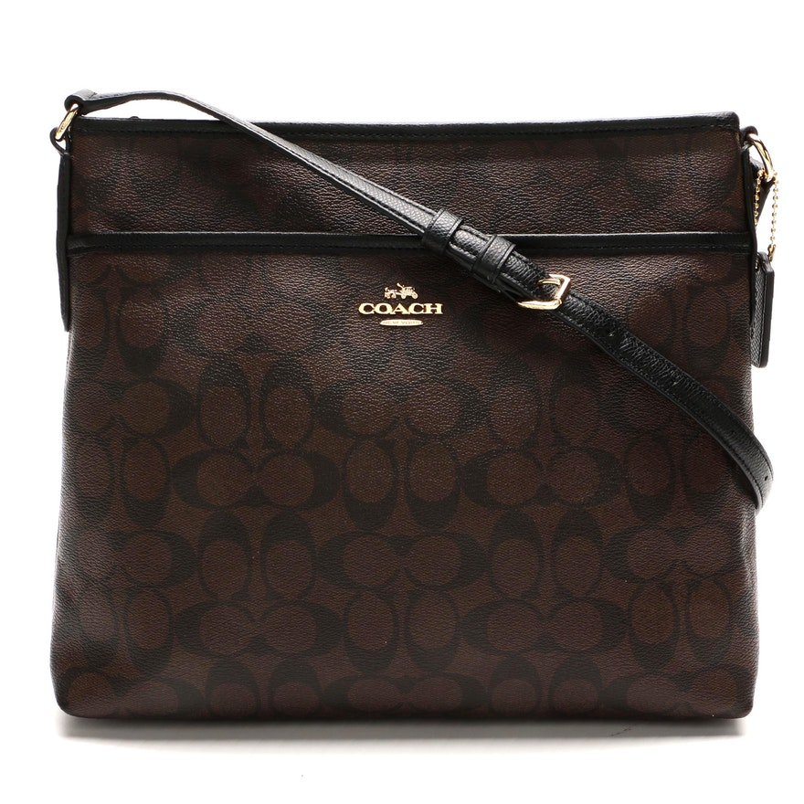 Coach File Crossbody in Signature Coated Canvas and Black Cross Grain Leather