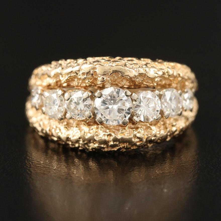 14K Nugget Style 1.18 CTW Diamond Ring