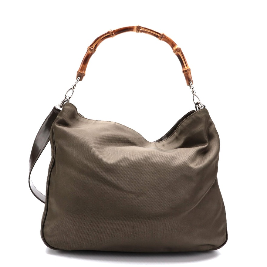 Gucci Two-Way Shoulder Bag in Khaki Green Nylon with Bamboo Handle
