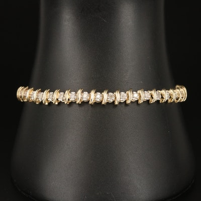 "10K 1.05 CTW Diamond ""S"" Link Bracelet"