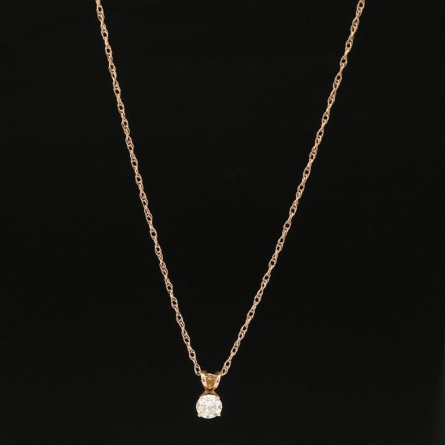 14K 0.30 CT Diamond Solitaire Necklace