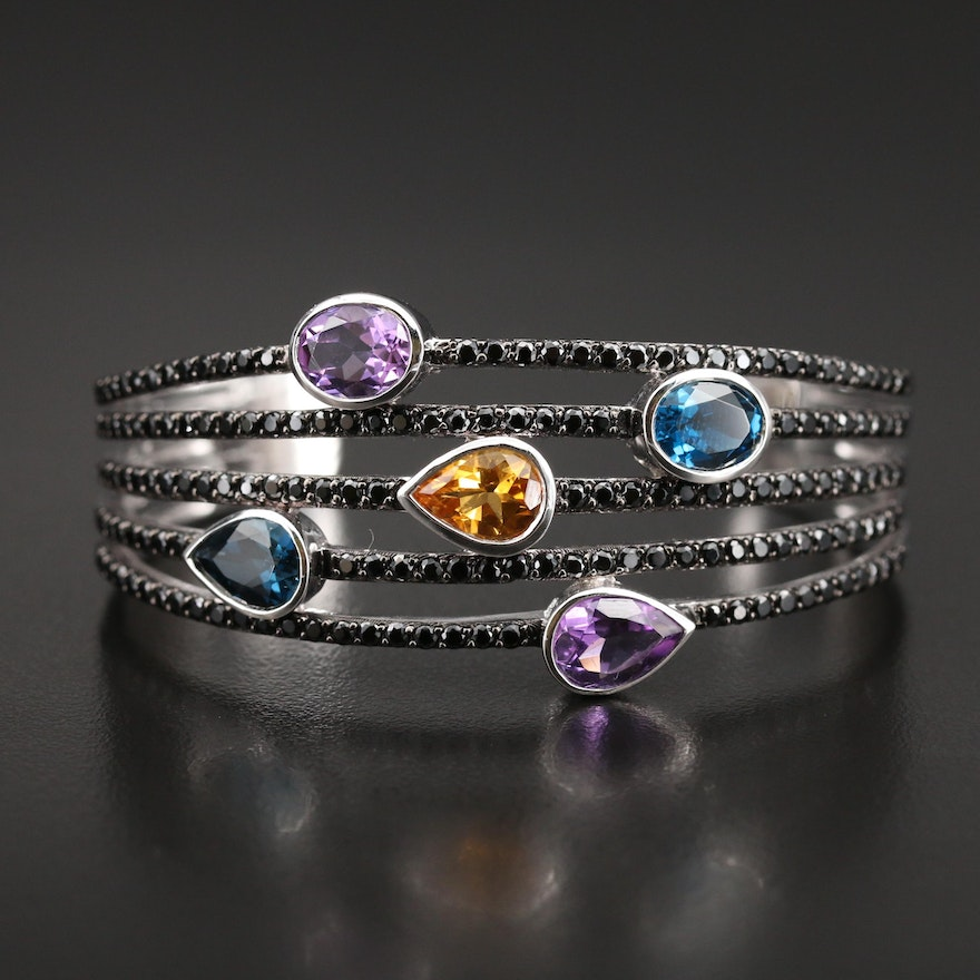 Sterling London Blue Topaz, Amethyst, Citrine and Spinel Cuff
